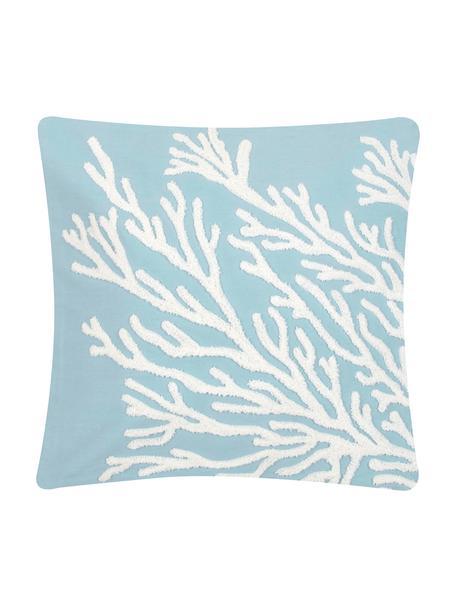 Federa arredo con motivo trapuntato Reef, 100% cotone, Azzurro, bianco, Larg. 40 x Lung. 40 cm