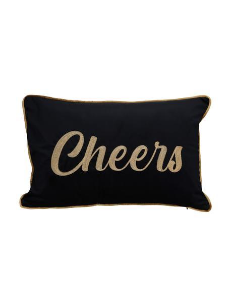 Geborduurd fluwelen kussen Cheers, met vulling, Zwart, goudkleurig, 40 x 60 cm