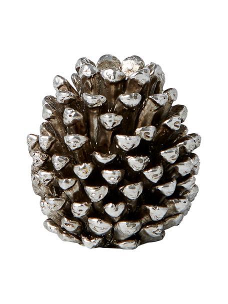 Handgefertigter Kerzenhalter Serafina Cone, Polyresin, Silberfarben, Ø 6 x H 6 cm