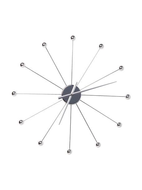 Grote wandklok Umbrella Balls, Wijzerplaat: gepolijst staal, Zilverkleurig, Ø 60 cm