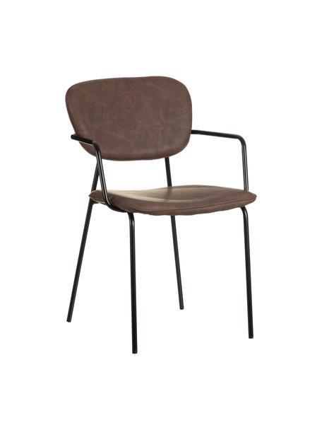 Krzesło tapicerowane ze sztucznej skóry Iskia, Tapicerka: sztuczna skóra (95% polie, Stelaż: płyta wiórowa, Nogi: metal, Brązowy, czarny, S 54 x G 55 cm