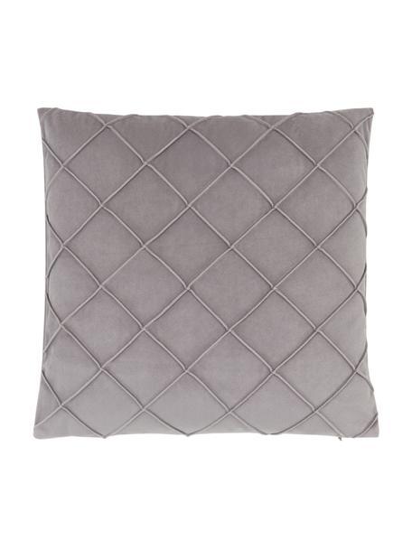 Fluwelen kussenhoes Luka in lichtgrijs met structuur-ruitpatroon, Fluweel (100% polyester), Grijs, 40 x 40 cm