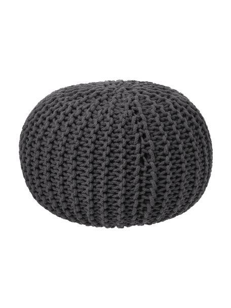 Pouf a maglia fatto a mano Dori, Rivestimento: 100% cotone, Grigio scuro, Ø 55 x Alt. 35 cm