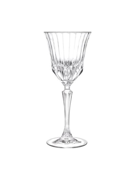 Kieliszek do wina ze szkła kryształowego z reliefem Adagio, 6 szt., Szkło kryształowe, Transparentny, Ø 9 x W 21 cm