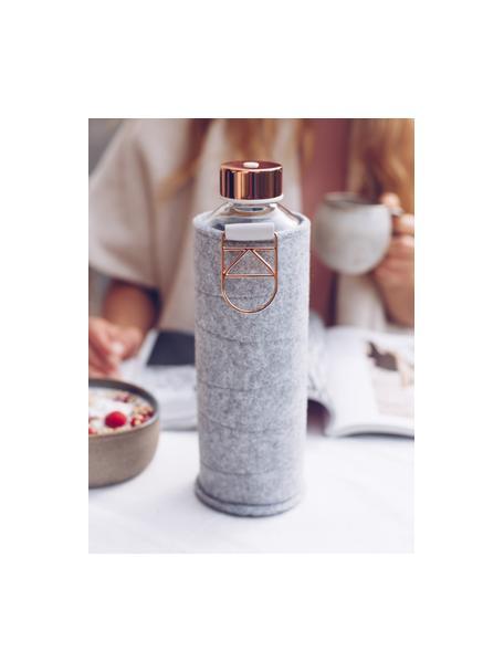 Botella Mismatch, Botella: vidrio borosilicato, Funda: fieltro de poliéster, Gris, transparente, bronceado, Ø 8 x Al 26 cm