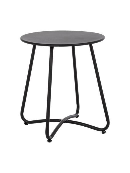 Mesa auxiliar para exterior de metal Wissant, Acero con pintura en polvo, Negro, Ø 40 x Al 45 cm