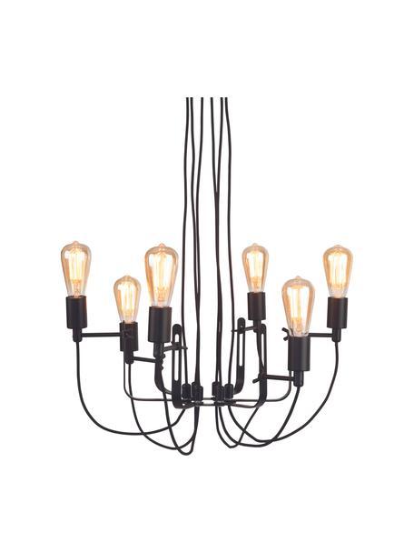 Araña Seattle, estilo industrial, Estructura: metal recubierto, Anclaje: metal recubierto, Cable: cubierto en tela, Negro, Ø 55 x Al 26 cm