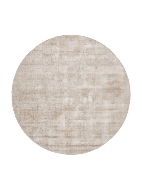 Rond viscose vloerkleed Jane in beige, handgeweven, Bovenzijde: 100% viscose, Onderzijde: 100% katoen, Beige, Ø 115 cm (maat S)