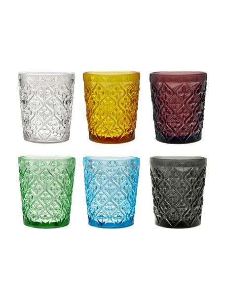 Waterglazen Marrakech met structuurpatroon, 6-delig, Glas, Blauw, lila, grijs, groen, geel, transparant, Ø 8 x H 10 cm