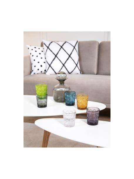 Vasos de colores con relive Marrakech, 6uds., Vidrio, Azul, lila, gris, verde, amarillo, transparente, Ø 8 x Al 10 cm