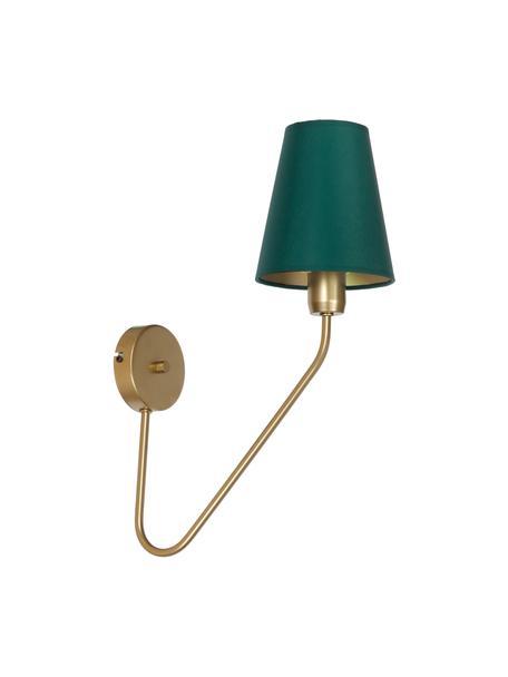 Design wandlamp Victoria, Lampenkap: katoenmix, Groen, goudkleurig, 15 x 50 cm