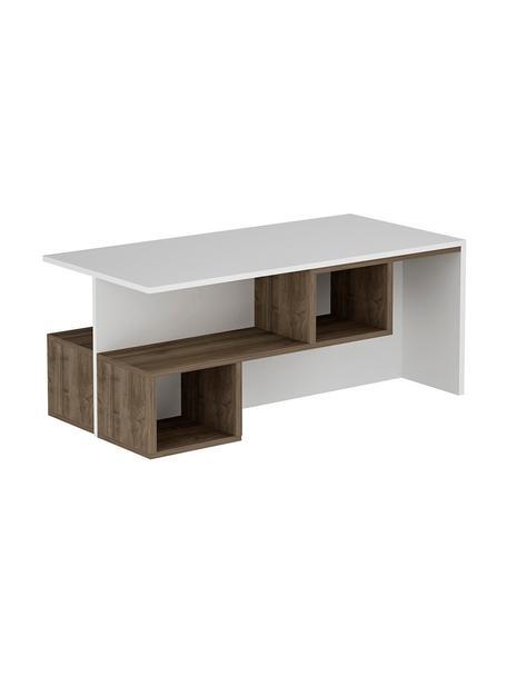 Tavolino da salotto con contenitore Dilay, Truciolare melaminico, Bianco, legno scuro, Larg. 100 x Alt. 60 cm