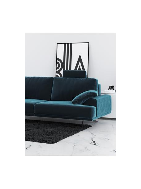 Divano 2 posti in velluto blu scuro Prado, Rivestimento: 100% velluto di poliester, Sottostruttura: compensato, legno di fagg, Piedini: metallo verniciato, Blu scuro, Larg. 220 x Alt. 107 cm
