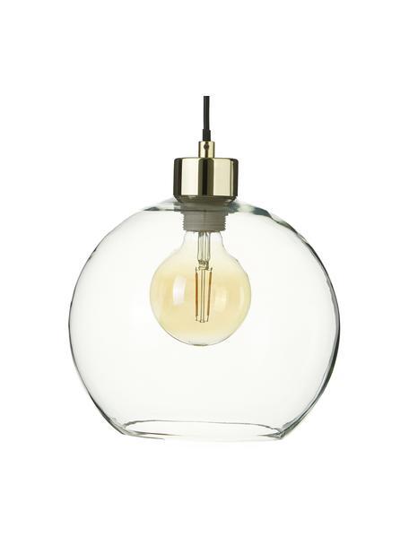 Hanglamp Irina van glas, Lampenkap: glas, Baldakijn: gegalvaniseerd metaal, Decoratie: gegalvaniseerd metaal, Goudkleurig, Ø 24 x H 22 cm