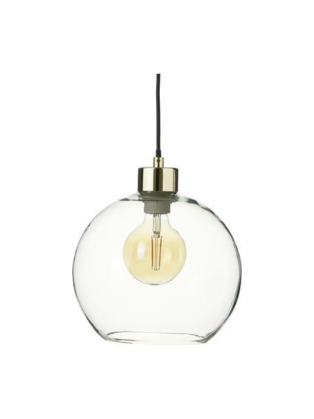 Kleine Pendelleuchte Irina aus Glas, Lampenschirm: Glas, Baldachin: Metall, galvanisiert, Dekor: Metall, galvanisiert, Gold, Ø 24 x H 22 cm