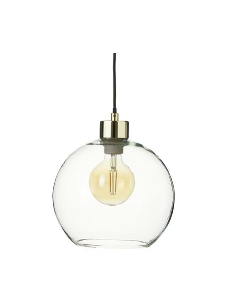 Lámpara de techo pequeña de vidrio Irina, Pantalla: vidrio, Anclaje: metal galvanizado, Cable: plástico, Dorado, Ø 24 x Al 22 cm