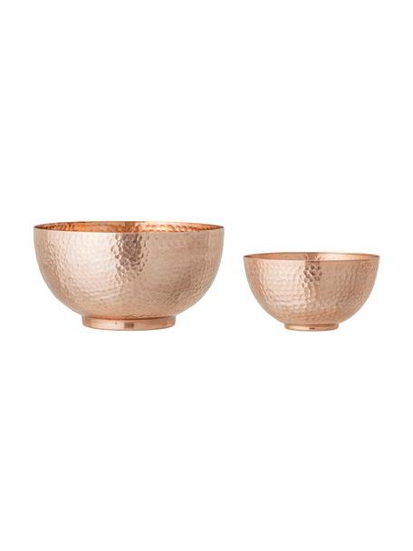 Schalen Cedar in Kupfer mit gehämmerter Oberfläche in verschiedenen Grössen, 2er-Set, Aluminium, beschichtet, Kupferfarben, Set mit verschiedenen Grössen