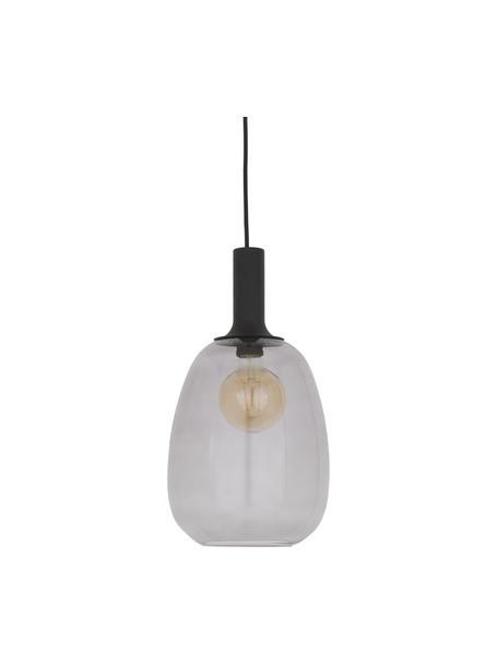 Lámpara de techo pequeña de vidrio Alton, Pantalla: vidrio, Estructura: metal recubierto, Anclaje: metal recubierto, Cable: cubierto en tela, Negro, gris transparente, Ø 23 x Al 43 cm