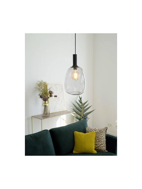 Lámpara de techo pequeña Alton, Pantalla: vidrio, Estructura: metal recubierto, Anclaje: metal recubierto, Cable: cubierto en tela, Negro, gris, transparente, Ø 23 x Al 43 cm