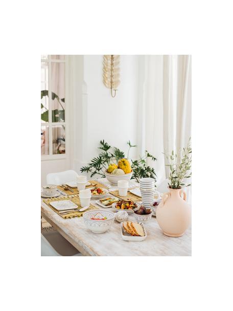 Handgemaakte Marokkaanse saladeschaal Couleur met goudkleurige details, Ø 25 cm, Keramiek, Lichtgrijs, crèmekleurig, goudkleurig, Ø 25 x H 12 cm