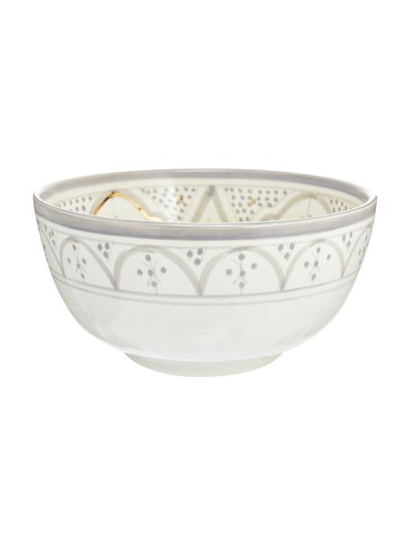 Insalatiera fatta a mano stile marocchino con dettagli dorati Couleur, Ø 25 cm, Ceramica, Grigio chiaro, crema, oro, Ø 25 x Alt. 12 cm
