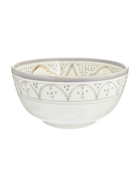 Ręcznie wykonana misa do sałatek Couleur, Ceramika, Jasny szary, odcienie kremowego, złoty, Ø 25 x W 12 cm