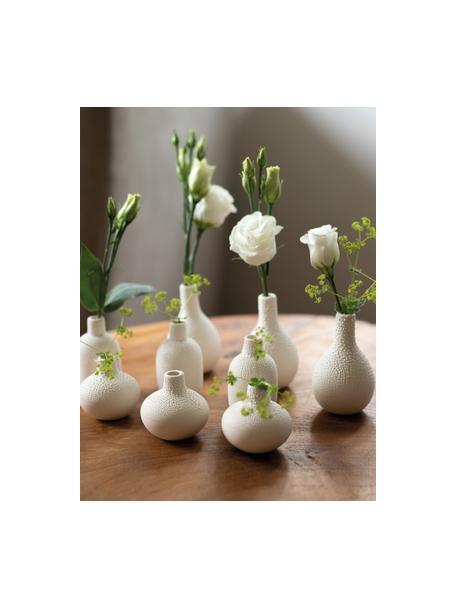 Set de jarrones pequeños de gres Perla, 3uds., Gres con esmalte perlado, Blanco, Set de diferentes tamaños