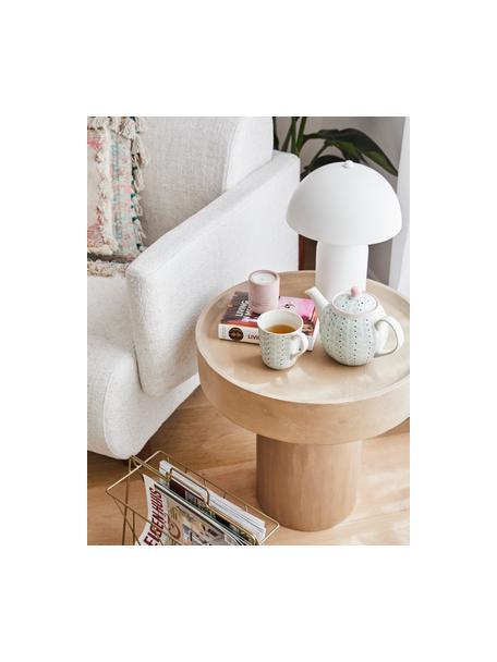 Mesa auxiliar de madera de mango Benno, Madera de mango maciza pintada, hormigón, Beige, Ø 50 x Al 50 cm