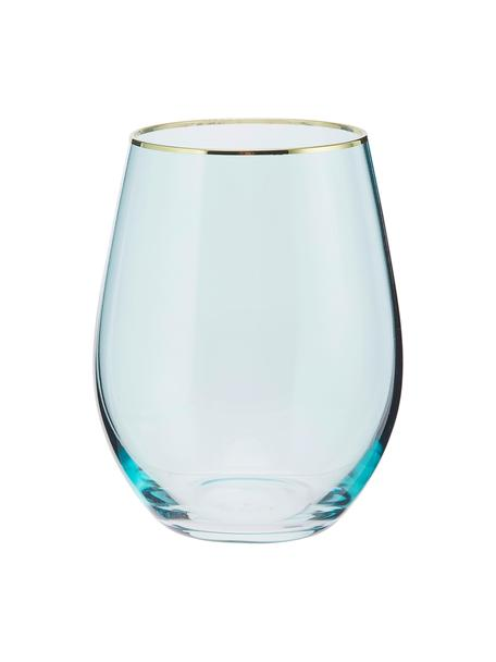 Szklanka do wody Chloe, 4 szt., Szkło, Jasny niebieski, odcienie złotego, Ø 9 x W 12 cm