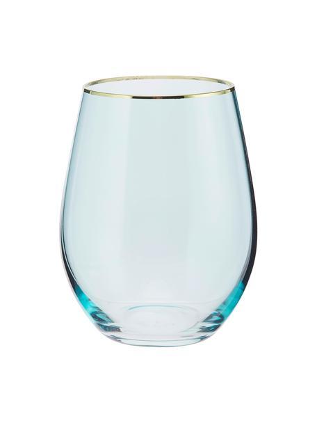 Wassergläser Chloe in Blau mit Goldrand, 4 Stück, Glas, Hellblau, Goldfarben, Ø 9 x H 12 cm