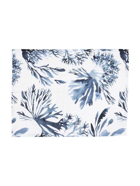 Placemats Bay met koraalprint in blauw, 2 stuks, 100% katoen, Wit, grijs, 38 x 50 cm