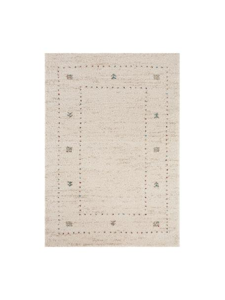 Pluizig hoogpolig vloerkleed Teo met patroon, Bovenzijde: 100% polypropyleen, Onderzijde: jute, Crèmekleurig, grijs, B 160 x L 230 cm (maat M)