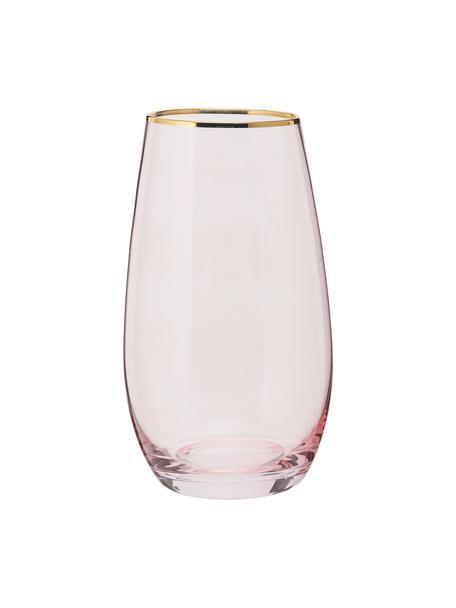 Hohe Gläser Chloe in Rosa mit Goldrand, 4 Stück, Glas, Pfirsich, Ø 9 x H 16 cm