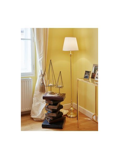 Lampada da terra in ottone Imperia, Paralume: poliestere, Base della lampada: metallo ottonato, Bianco, ottone, Ø 30 x Alt. 149 cm