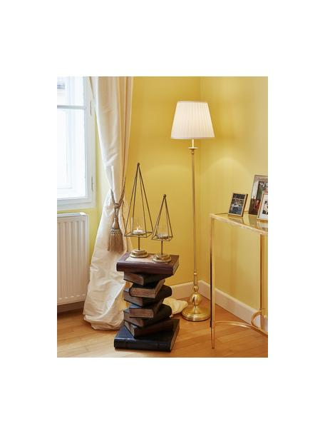 Vloerlamp Imperia, messing, Lampenkap: polyester, Lampvoet: vermessingd metaal, Wit, messingkleurig, Ø 30 x H 149 cm