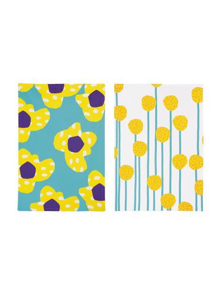 Set 2 strofinacci Flower, 100% cotone, Multicolore, Larg. 50 x Lung. 70 cm