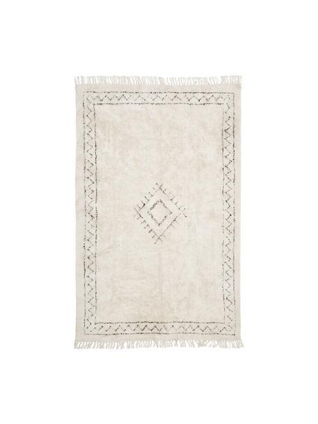 Alfombra artesanal de algodón con flecos Frame, estilo boho, 100%algodón, Beige, negro, An 120 x L 180 cm (Tamaño S)