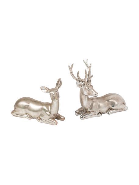 Decoratieve herten Silver Forrest in zilverkleur H 15 cm, 2 stuks, Kunsthars, Zilverkleurig, antieke-afwerking, 15 x 15 cm