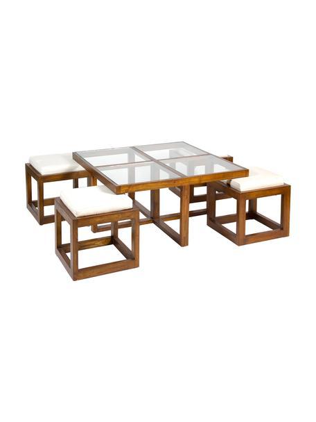 Stolik kawowy z drewna naturalnego Tiago, 5 szt., Stelaż: drewno mindi, Blat: szkło, Tapicerka: tkanina, Brązowy, Komplet z różnymi rozmiarami