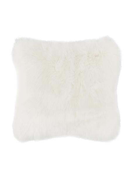 Flauschige Kunstfell-Kissenhülle Mathilde in Creme, glatt, Vorderseite: 67% Acryl, 33% Polyester, Rückseite: 100% Polyester, Creme, 40 x 40 cm