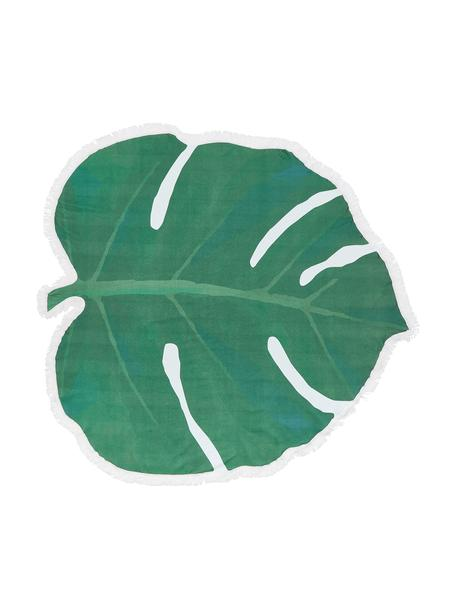 Toalla de playa Leaves, 55%poliéster, 45%algodón Gramaje ligero 340g/m², Verde, blanco, An 139 x L 150 cm
