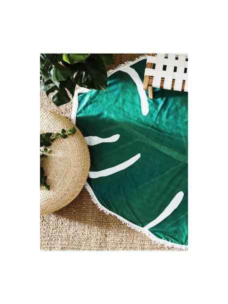 Strandlaken Leaves in bladvorm, 55% polyester, 45% katoen Zeer lichte kwaliteit 340 g/m², Groen, wit, 139 x 150 cm