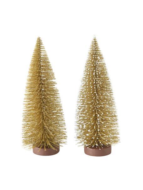Deko-Bäume Tarvo in Gold H 22 cm, 2 Stück, Kunststoff, Goldfarben, Ø 9 x H 22 cm