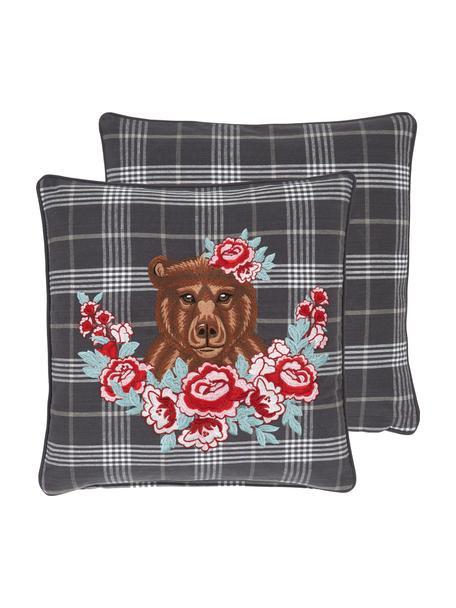 Karierte Kissenhülle Bear mit Bestickung, 100% Baumwolle, Mehrfarbig, 45 x 45 cm