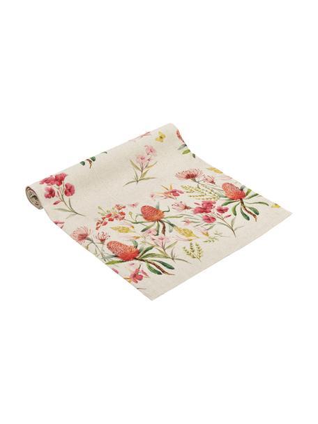 Tischläufer Caleo mit sommerlichen Blumenmotiven, 85% Baumwolle, 15% Leinen, Beige, Mehrfarbig, 40 x 145 cm