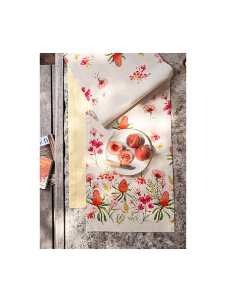 Runner con motivi floreali Caleo, 85% cotone, 15% lino, Beige, multicolore, Larg. 40 x Lung. 145 cm