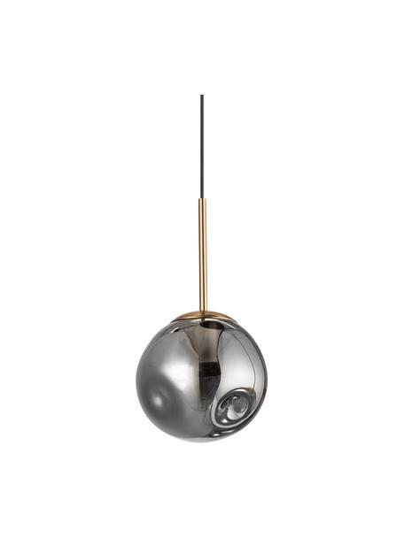 Kleine hanglamp Spada van glas, Lampenkap: glas, Baldakijn: kunststof, Messingkleurig, grijs, Ø 15  x H 28 cm