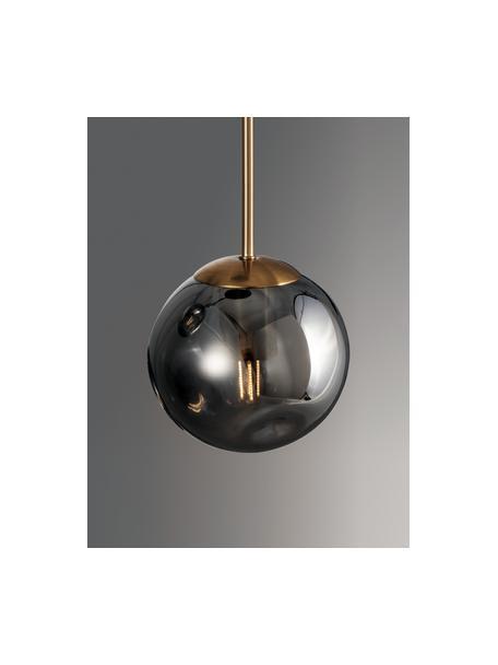 Lampada a sospensione in vetro Spada, Paralume: vetro, Struttura: alluminio rivestito, Baldacchino: materiale sintetico, Ottonato, grigio, Ø 15 x Alt. 28 cm