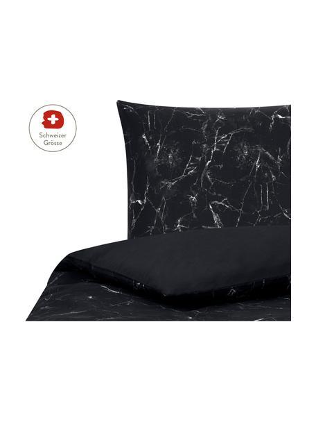 Baumwollperkal-Bettdeckenbezug Malin mit Marmor-Muster, Webart: Perkal Fadendichte 200 TC, Schwarz, Weiss, 160 x 210 cm