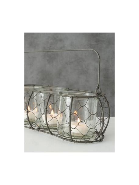 Windlichter-Set Lulu, 4-tlg., Windlicht: Glas, Halterung: Metall, Transparent, 31 x 10 cm